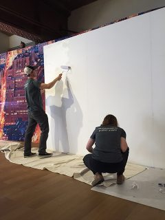 AOTE working on a backdrop in NYC