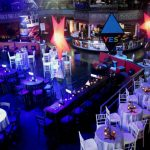 Large indoor event space with tables