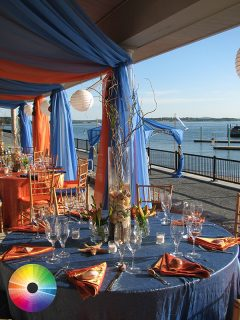 Blue and orange-themed outdoor party