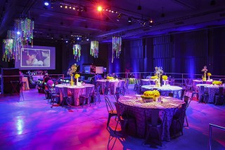 dinner tables in party room