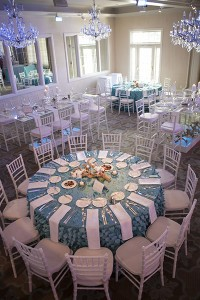 table setting with blue tablecloth