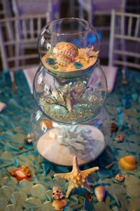 table centerpiece with seashells & sand