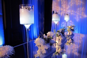 Glass table with candle centerpiece