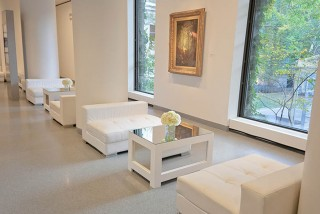lounge space at art event at MFA