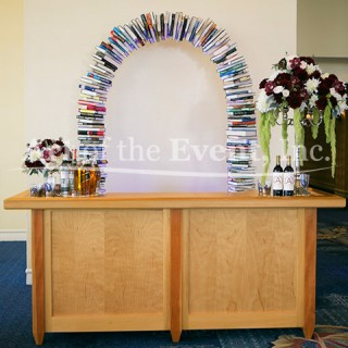 bar with book archway behind it