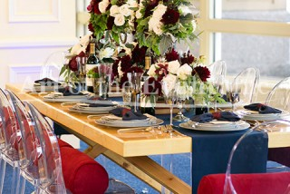 full table setting with floral centerpieces