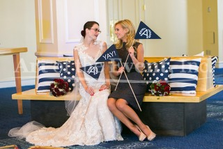 Bride & Bridesmaid sitting down