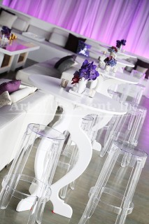 white high top tables with clear high top stools