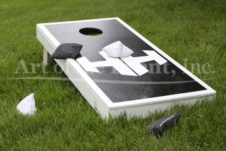 Black and White Cornhole Game