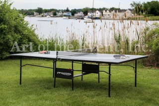 ping pong table along the water