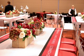 Floral Centerpieces on Branded Share Tables