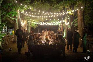 outdoor wedding table reception area
