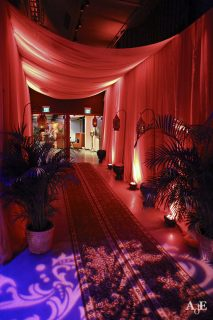 entry way with drapes