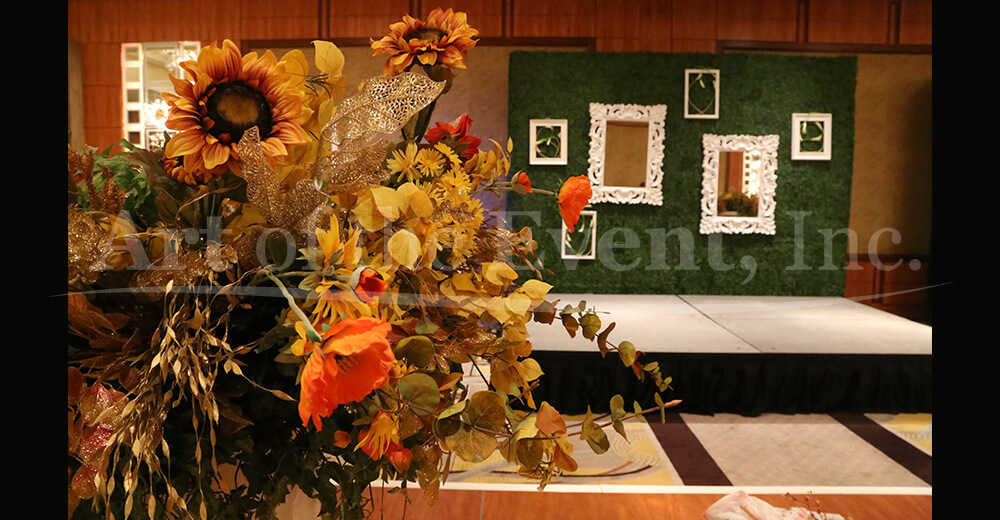 Large fall floral display