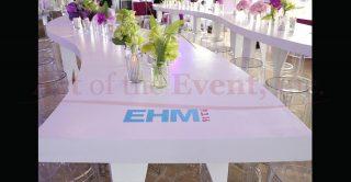 EHM logo on table