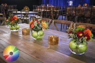 Colorful floral arrangements on table