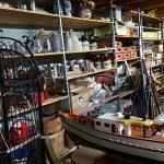 Decorative items on storage shelves