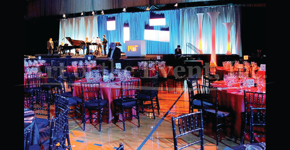 Large event space with stage and tables
