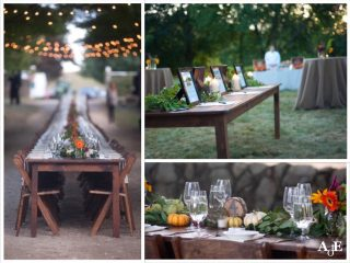 rustic outdoor fall wedding table setting