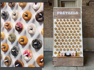 Donut and pretzel wall