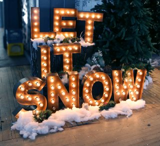 let it snow lit up words